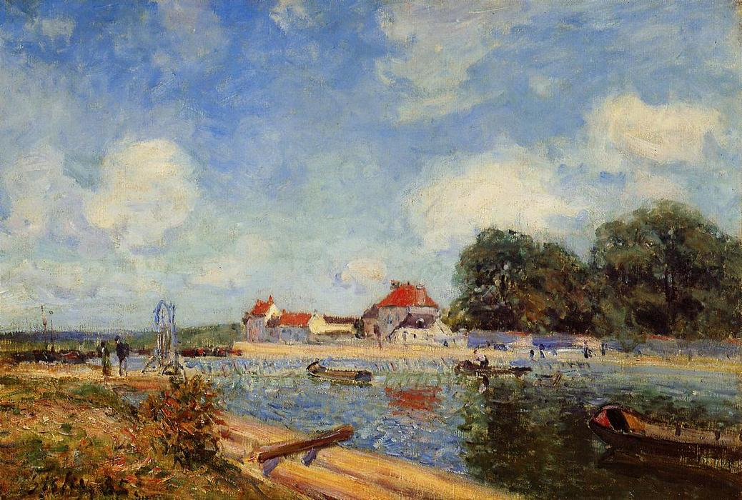famous painting Loing Dam at Saint Mammes of Alfred Sisley