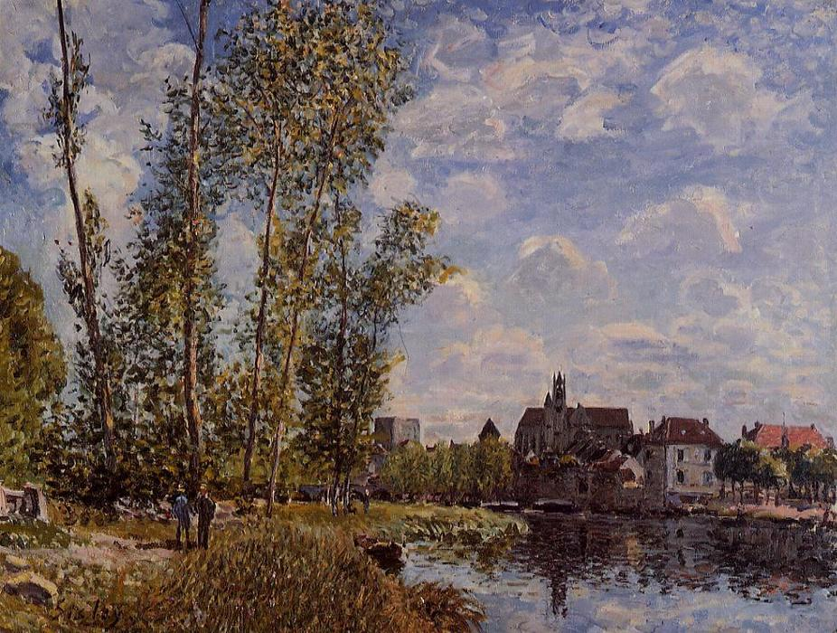 famous painting Moret, View from the Loing, May Afternoon of Alfred Sisley