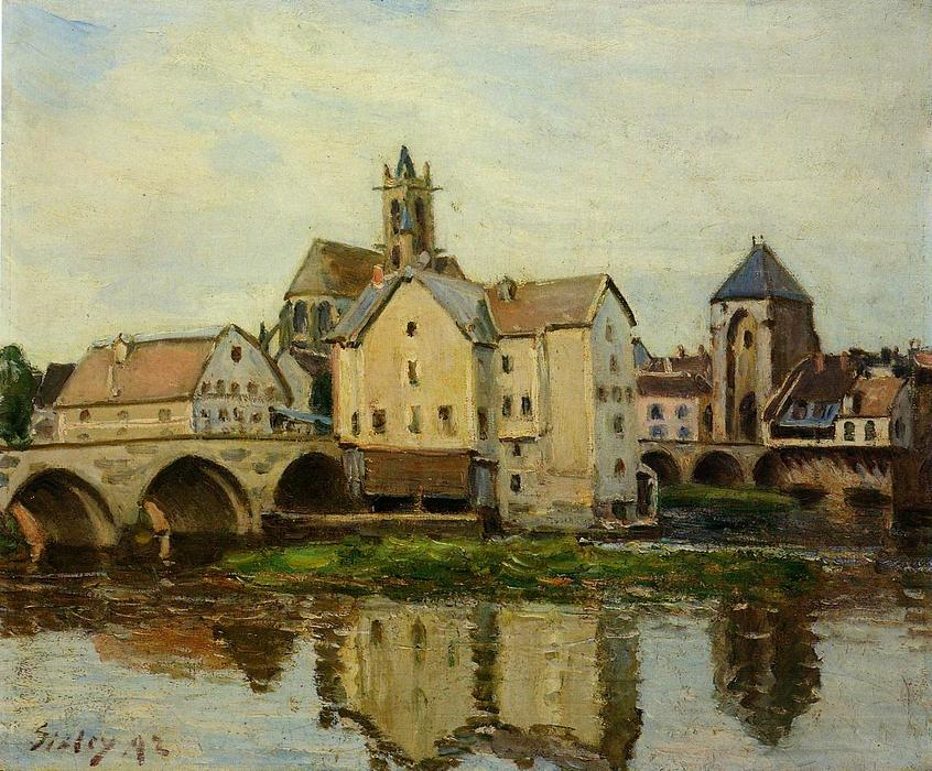 famous painting Moret sur Loing, Morning of Alfred Sisley