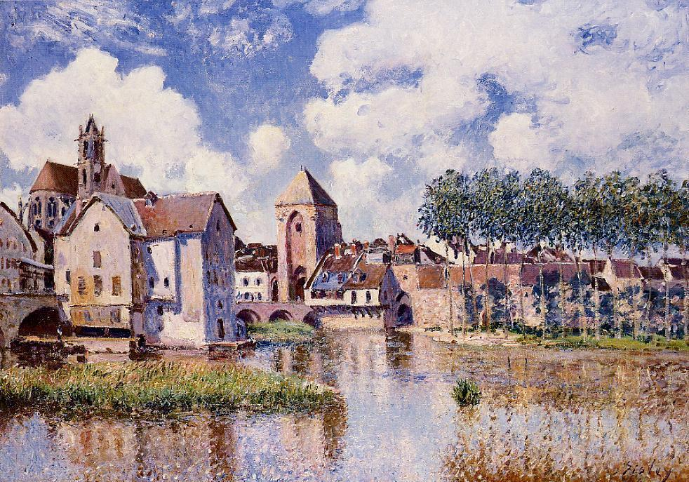 famous painting Moret sur Loing the Porte de Bourgogne of Alfred Sisley