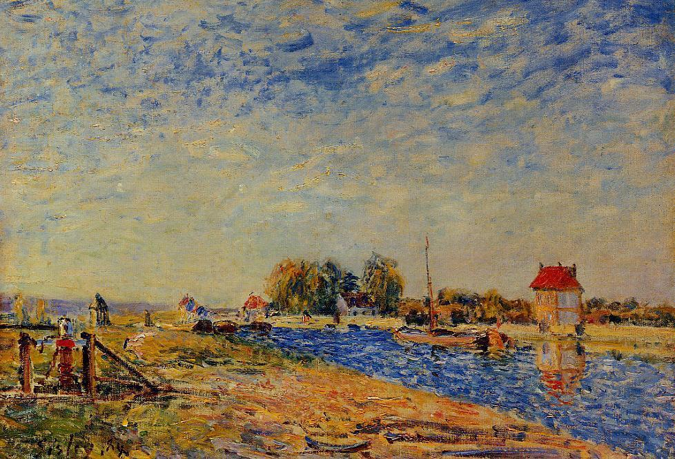 famous painting Morning Sun, Saint Mammes of Alfred Sisley