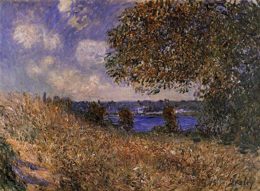 famous painting Near the Bank of the Seine at By of Alfred Sisley