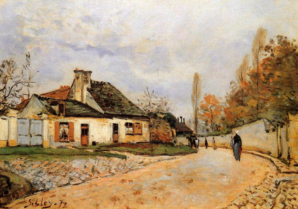famous painting Neighborhood Street in Louveciennes (aka Rue de Village (Voisins to Louveciennes) of Alfred Sisley