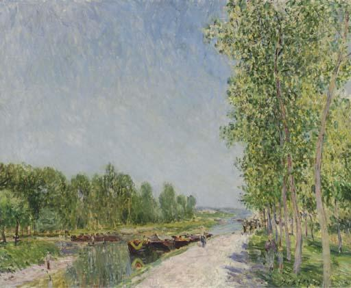 famous painting On the Banks of the Loing Canal of Alfred Sisley