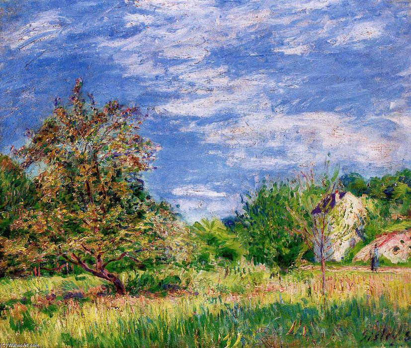 famous painting Orchard in Spring of Alfred Sisley