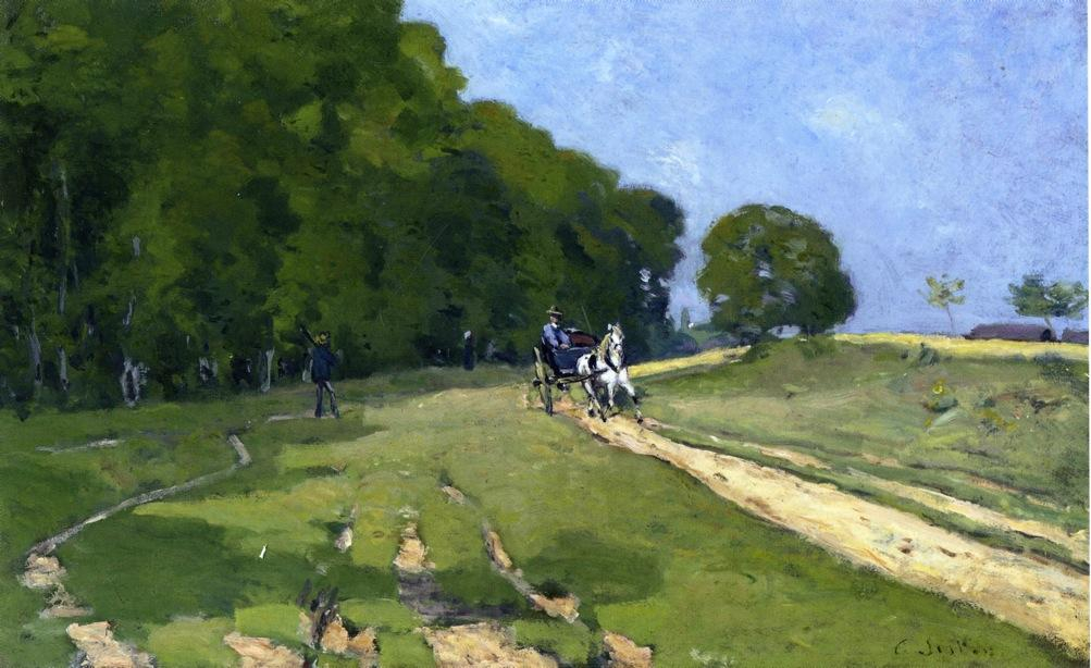 famous painting Path near the Parc de Courances of Alfred Sisley