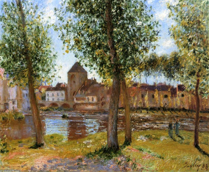 famous painting Poplars a Moret sur Loing, an August Afternoon of Alfred Sisley