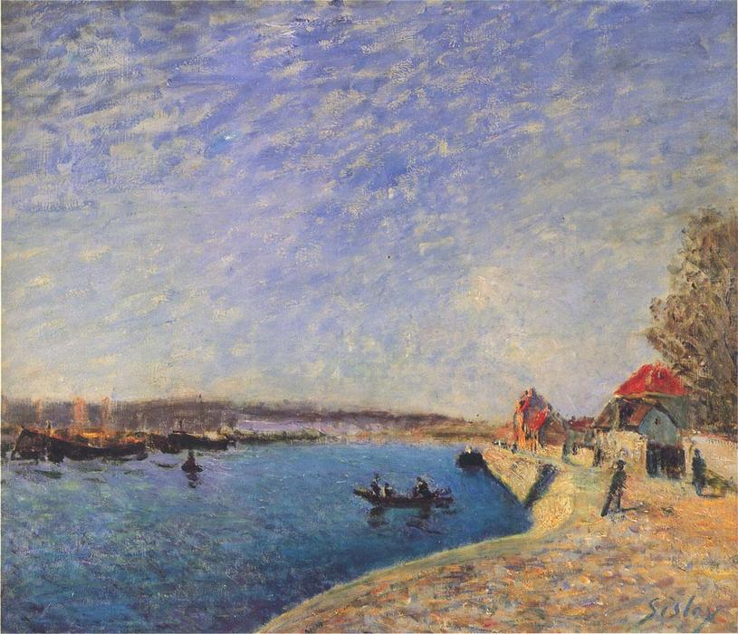 famous painting River Loing at Saint Mammes of Alfred Sisley
