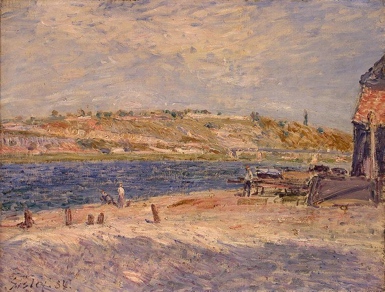 famous painting Riverbanks at Saint Mammes of Alfred Sisley