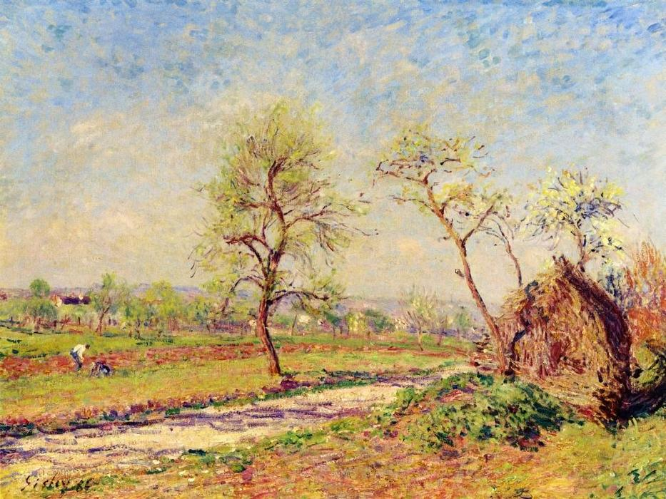 famous painting Road at Veneux of Alfred Sisley