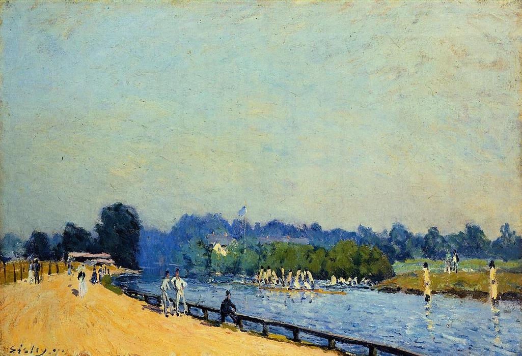famous painting Road from Hampton Court of Alfred Sisley