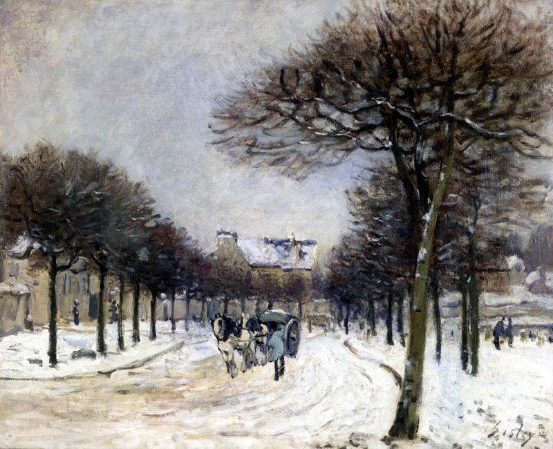 famous painting Road from Saint Germain to Marly of Alfred Sisley