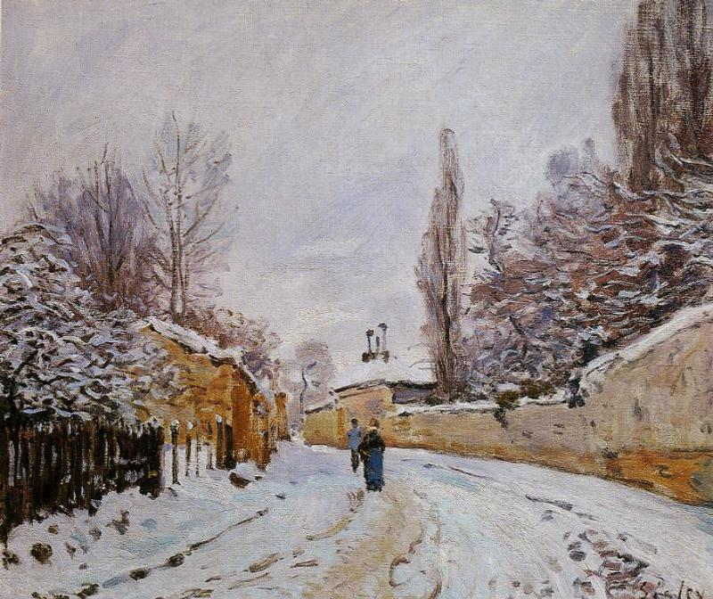 famous painting Road under Snow, Louveciennes of Alfred Sisley