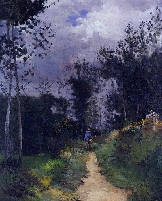 famous painting Rural Guardsman in the Fountainbleau Forest of Alfred Sisley