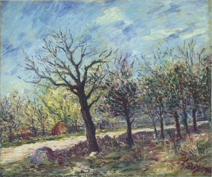 famous painting Sablons in Spring of Alfred Sisley