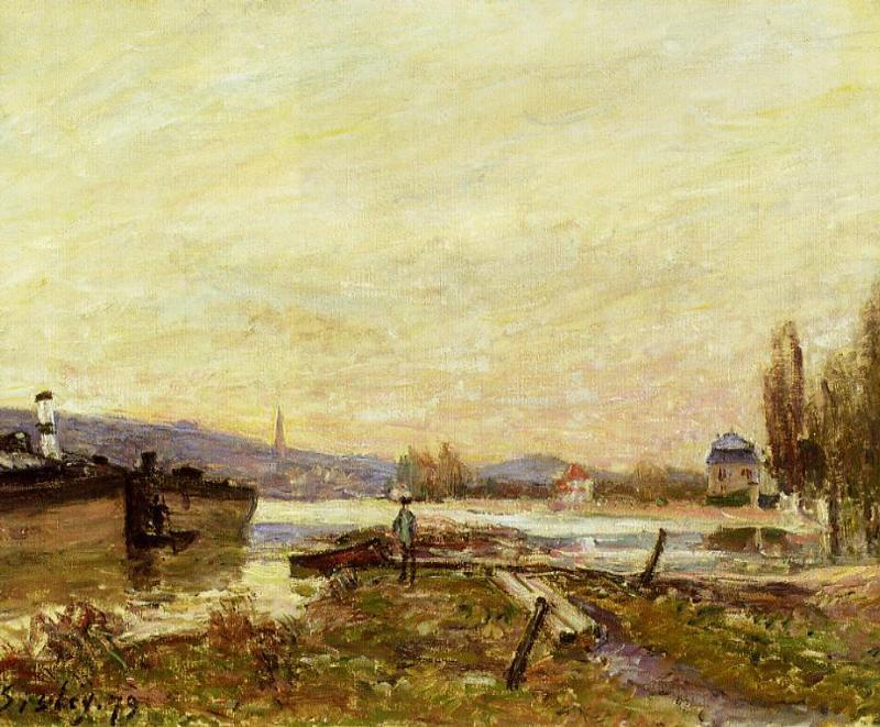 famous painting Saint Cloud, Banks of the Seine of Alfred Sisley