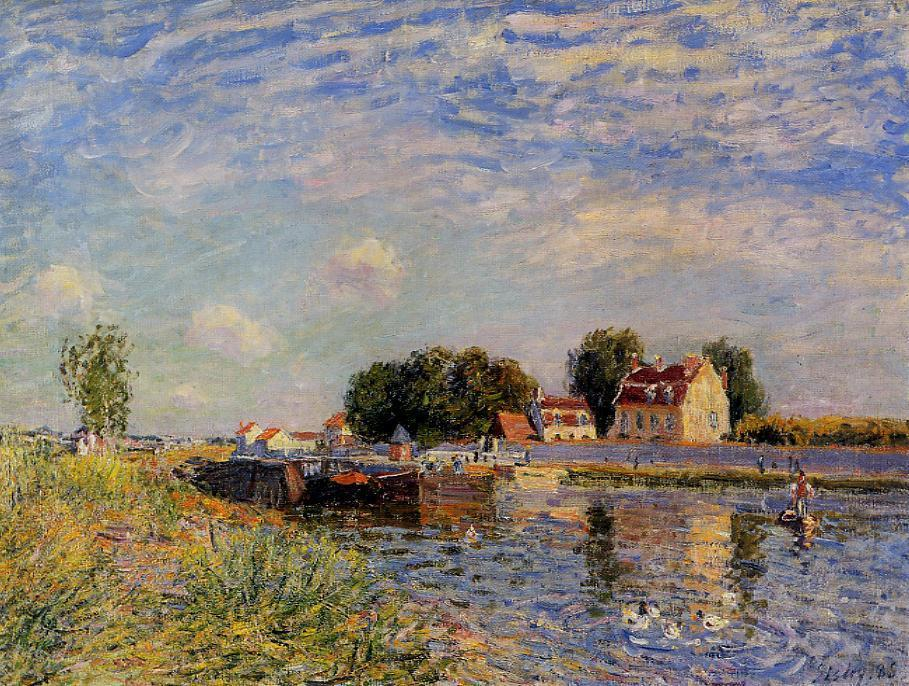 famous painting Saint Mammes, Ducks on Canal of Alfred Sisley