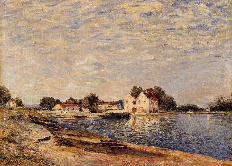 famous painting Saint-Mammes, on the Banks of the Loing of Alfred Sisley