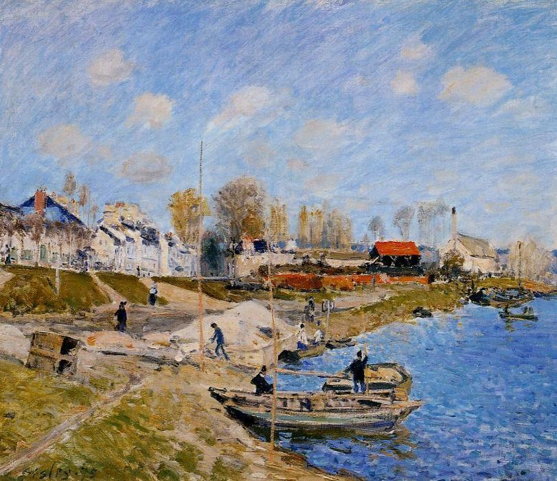 famous painting Sand on the Quayside, Port Marly of Alfred Sisley