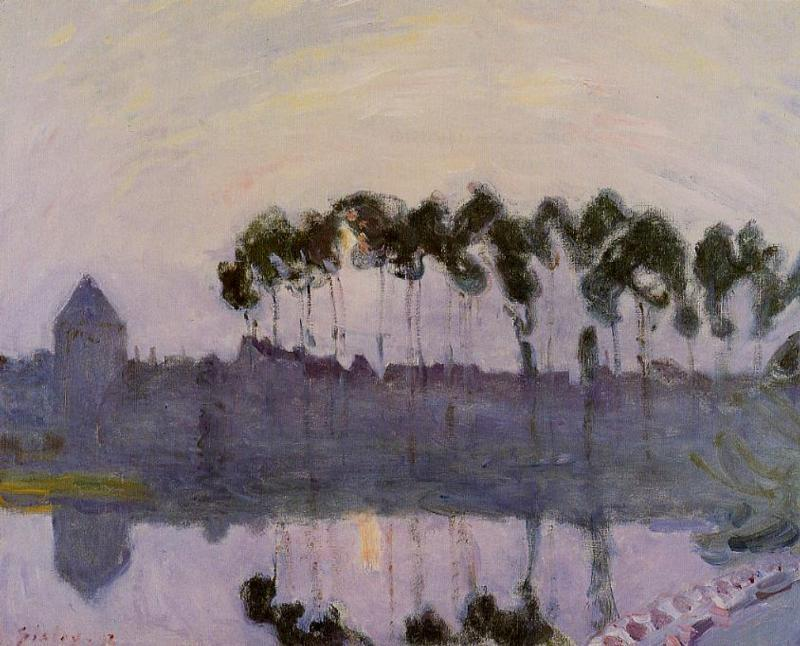 famous painting Setting Sun at Moret of Alfred Sisley