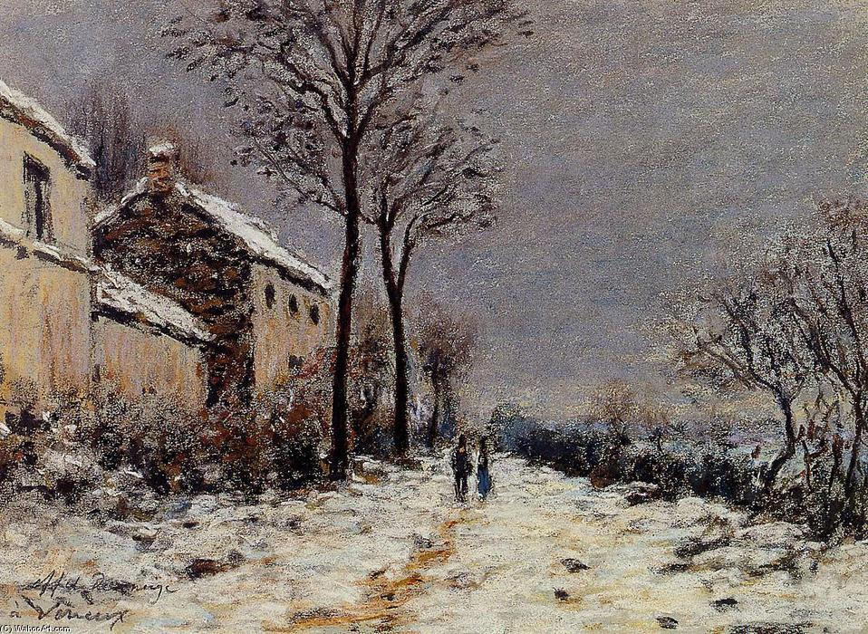 famous painting Snow Effect at Veneux of Alfred Sisley