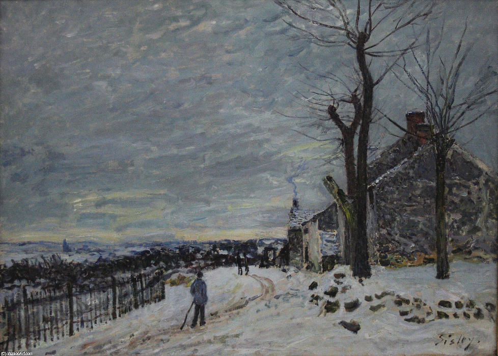 famous painting Snowy Weather at Veneux Nadon of Alfred Sisley