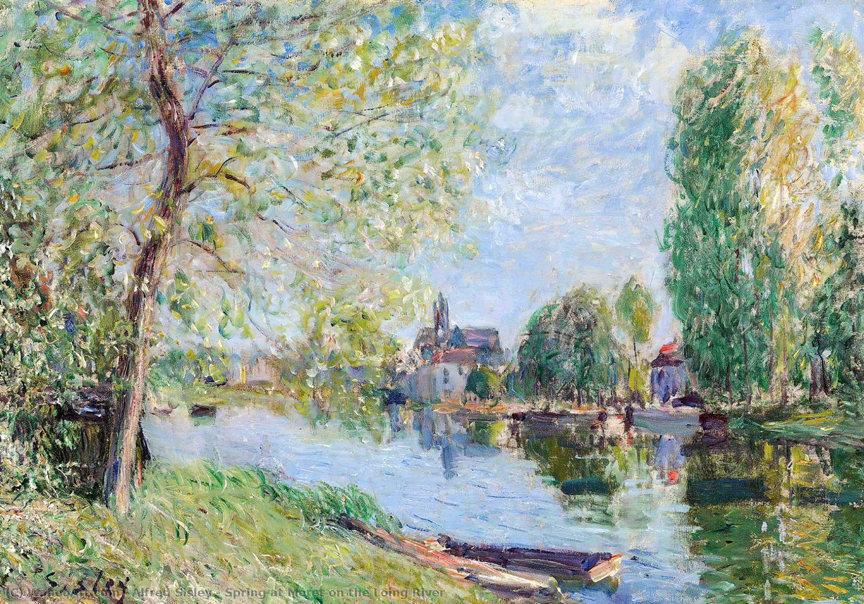 famous painting Spring at Moret on the Loing River of Alfred Sisley