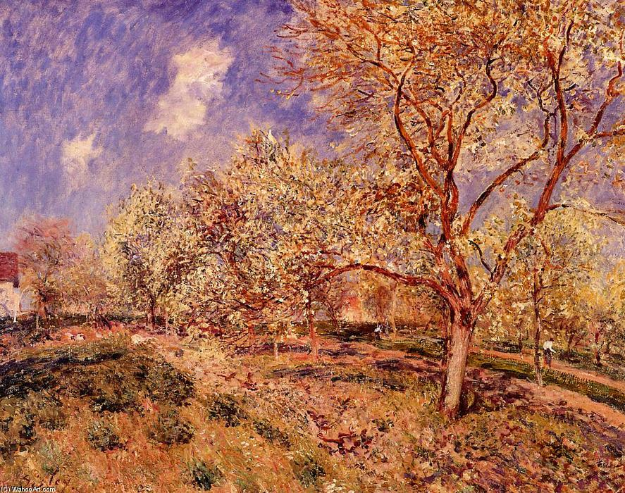 famous painting Spring at Veneux of Alfred Sisley