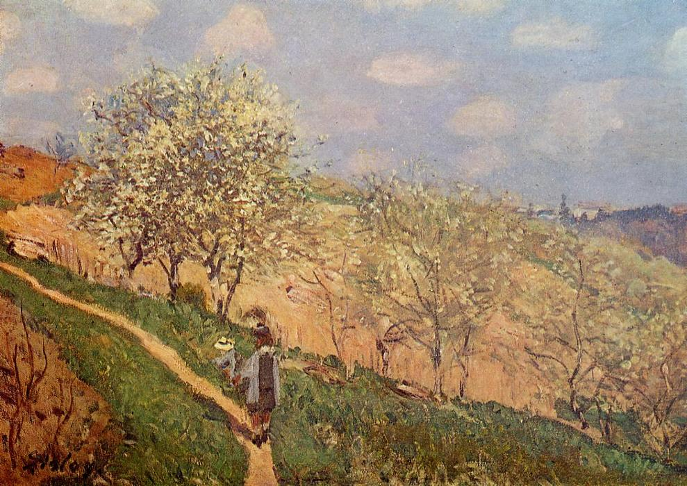 famous painting Spring in Bougival of Alfred Sisley