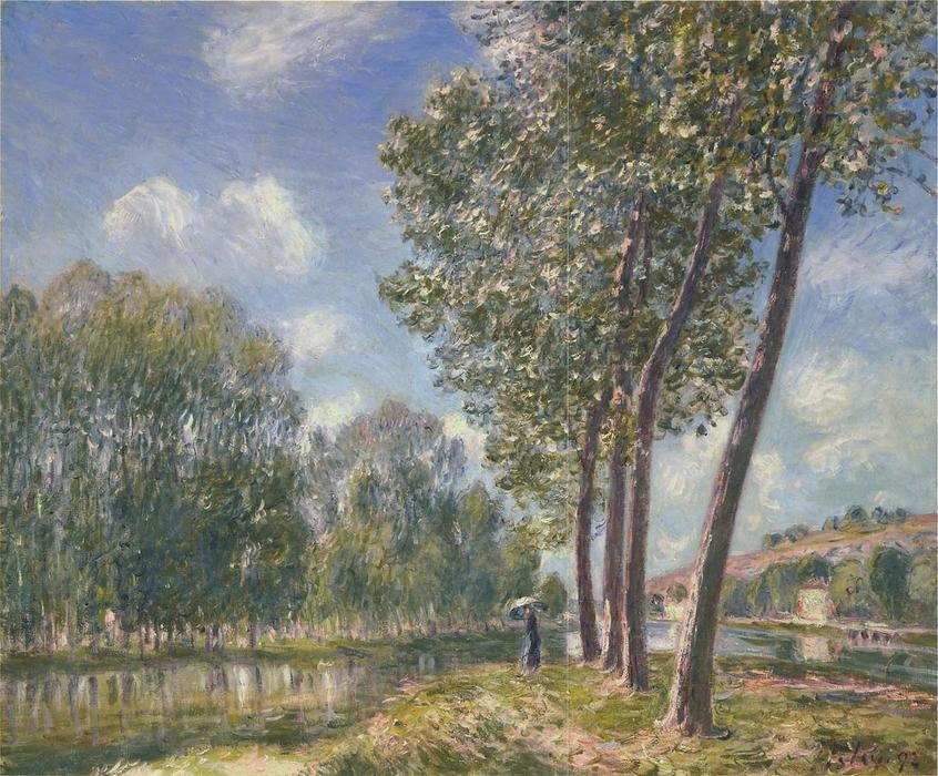 famous painting Spring Sunshine on the Loing of Alfred Sisley
