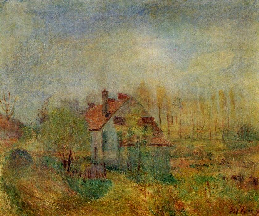 famous painting Springtime Scene Morning of Alfred Sisley