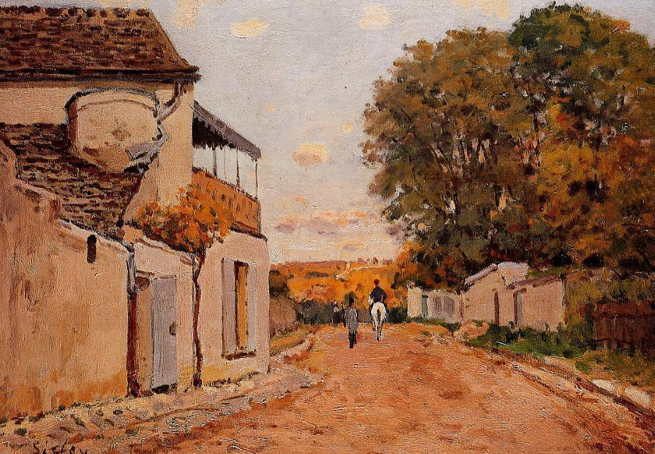 famous painting Street in Louveciennes (Rue de la Princesse) of Alfred Sisley
