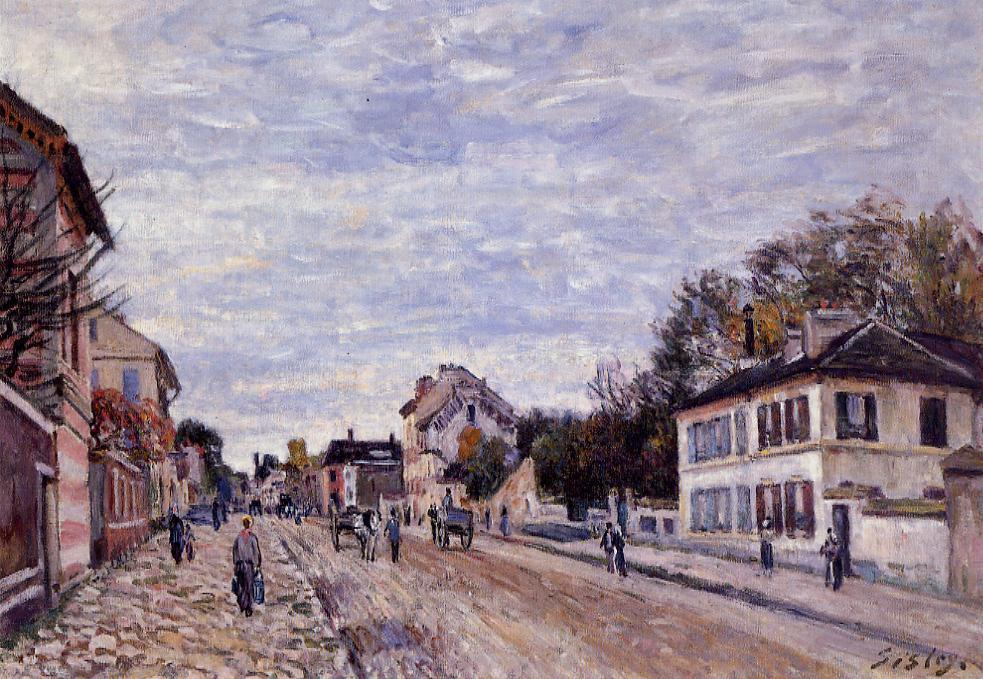 famous painting Street Scene in Marly of Alfred Sisley
