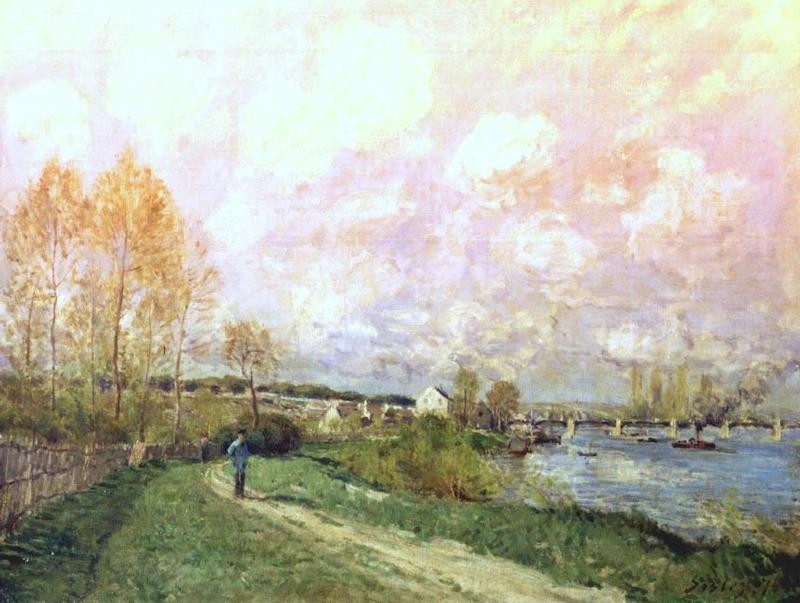 famous painting Summer at Bougival of Alfred Sisley