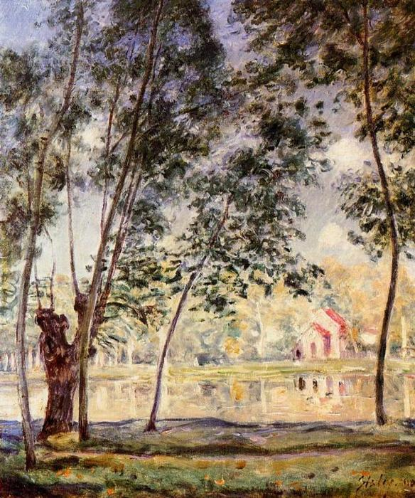 famous painting Sunny Afternoon Willows by the Loing of Alfred Sisley