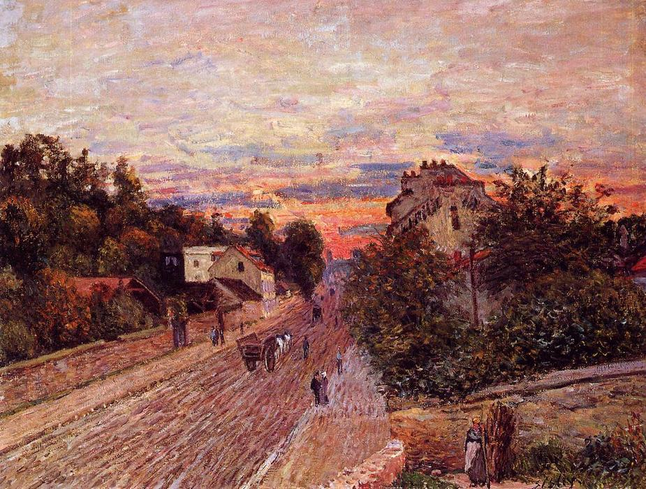 famous painting Sunset at Port Marly of Alfred Sisley