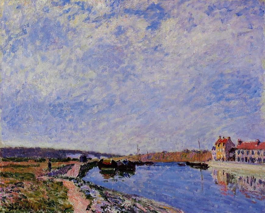 famous painting The Barge Port and Saint Mammes of Alfred Sisley