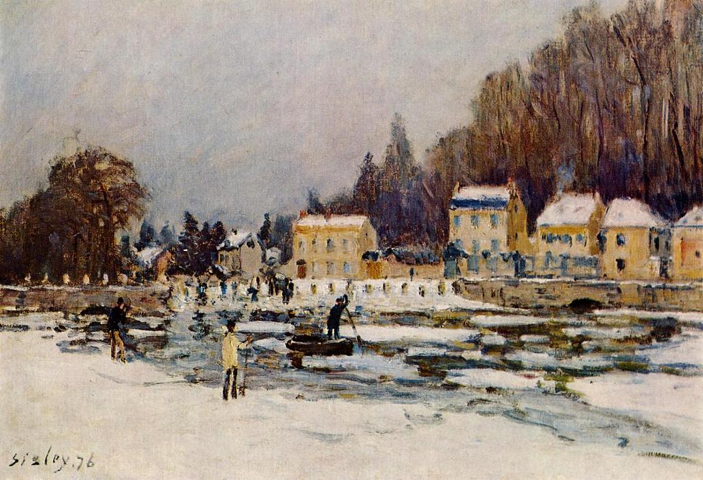 famous painting The Blocked Seine at Port Marly of Alfred Sisley