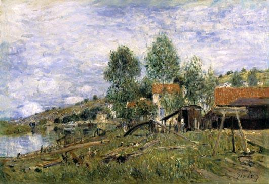 famous painting The Boatyard at Saint Mammes of Alfred Sisley