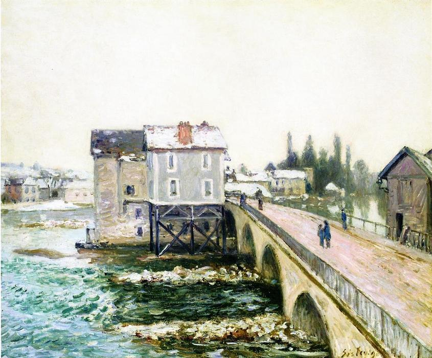 famous painting The Bridge and Mills of Moret, Winter s Effect of Alfred Sisley