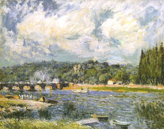 famous painting The Bridge of Sevres of Alfred Sisley