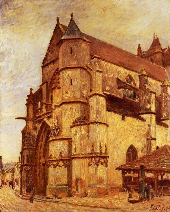 famous painting The Church at Moret, Rainy Morning of Alfred Sisley