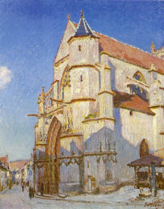 famous painting The Church at Moret of Alfred Sisley