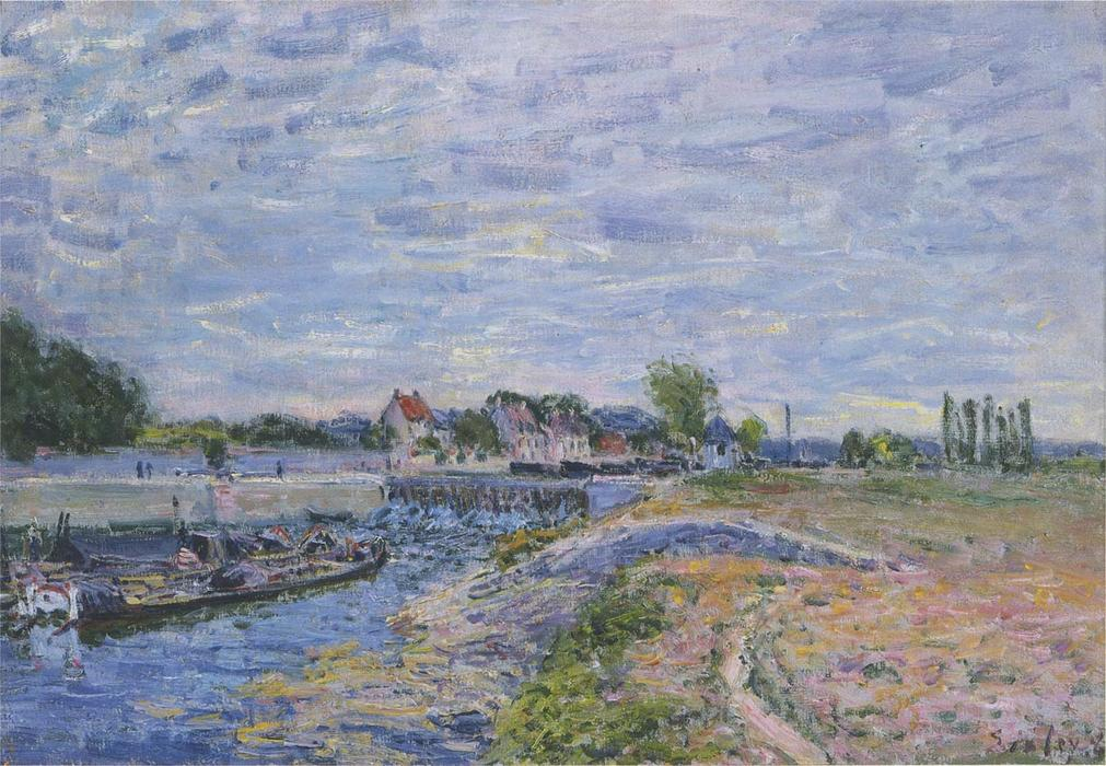 famous painting The Dam at Saint Mammes of Alfred Sisley