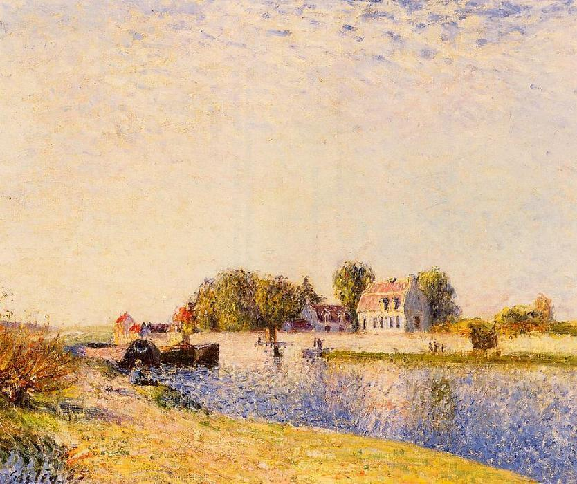 famous painting The Dam on the Loing Barges of Alfred Sisley