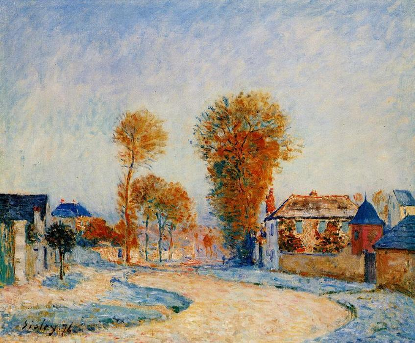 famous painting The First Hoarfrost of Alfred Sisley