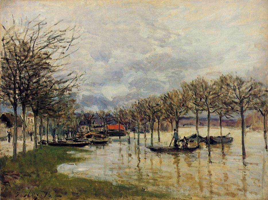 famous painting The Flood on the Road to Saint Germain of Alfred Sisley