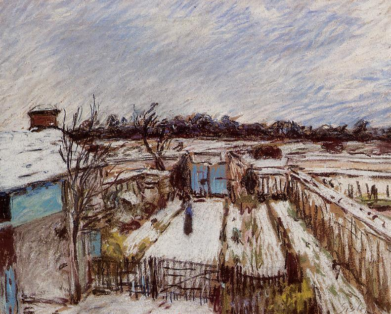 famous painting The Garden under the Snow of Alfred Sisley
