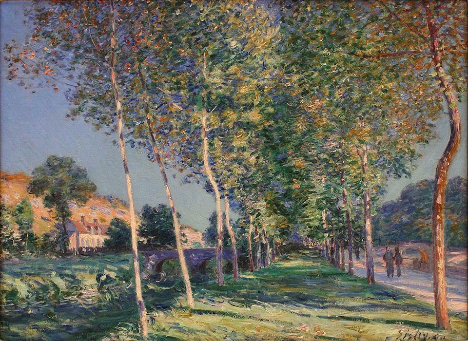 famous painting The Lane of Poplars at Moret Sur Loing of Alfred Sisley