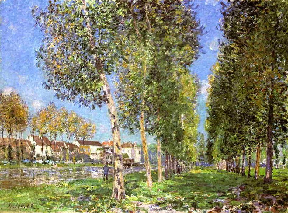 famous painting The Lane of Poplars at Moret-Sur-Loing of Alfred Sisley